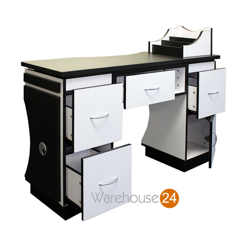 Ascot nail bar station beauty salon manicure technicians table by glam looks ebay - Table bar salon ...